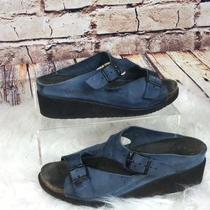 MEPHISTO Elka BLUE SUEDE 2-Buckle Sandals 37/7US